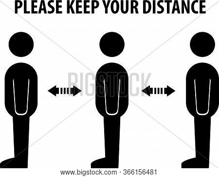 Please Keep Your Distance, Cashier Sign Vector.social Distancing And Infection Risk Reduction Concep