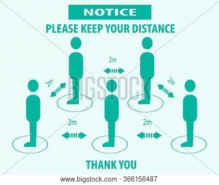 Please Keep Your Distance, Sign And Sticker Vector Illustration.social Distancing And Infection Risk
