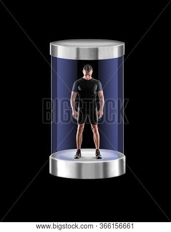 Strong fitness man inside a tech cristal capsule.