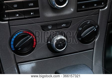 Novosibirsk/ Russia - May 03 2020: Brilliance V5, Close Up Of  Car Panel With The Air Conditioning B