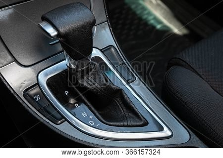 Novosibirsk/ Russia - May 03 2020: Brilliance V5, Close-up View Of The Automatic Gearbox Lever. Inte