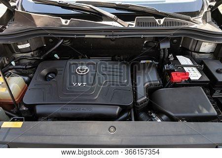 Novosibirsk/ Russia - May 03 2020: Brilliance V5, Car Engine Close-up. Internal Combustion Engine, C