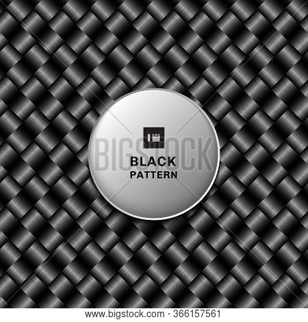 Abstract 3d Black Metallic Weave Pattern On Dark Background And Texture. Vector Illustration