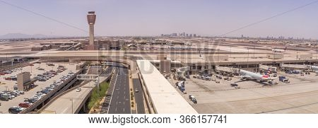 Phoenix,Az/USA -5.28.16  Phoenix Sky Harbor Airport is a civil-military public airport 3 miles east of downtown Phoenix, in Arizona, in 2019 it served 46,288,337 passengers.