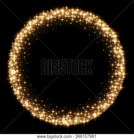 Golden Sparkling Star In Round On Black Background. Circle Gold Glitter Frame On Dark Space. Festive