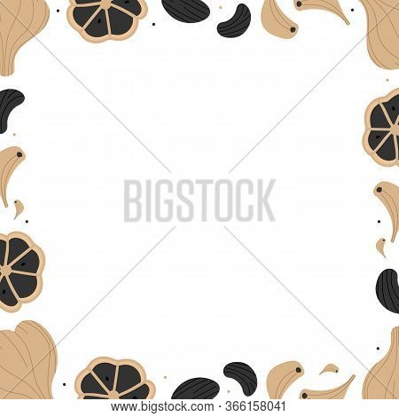 Vector Frame, Card Template With Black Garlic, Fermented Garlic Bulb And Cloves.