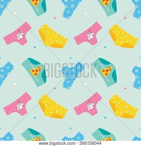 Colorful Cute Cartoon Style Panties, Underwear Seamless Pattern Background.