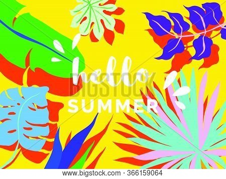 Hello Summer Banner/background Template Design, Tropical Plants On Yellow Background, Colorful Vibra