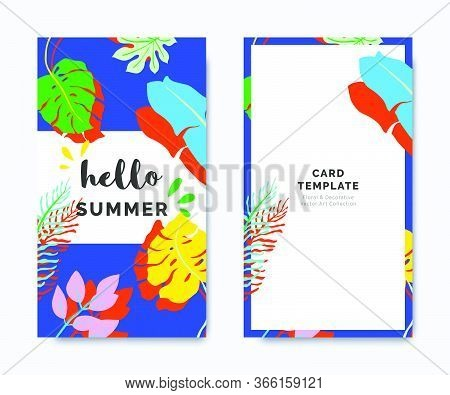 Hello Summer Invitation Card Template Design, Tropical Plants On Blue Background, Colorful Vibrant T