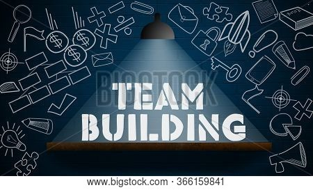 Team Building Word With Lamp On The Wall. 3d Rendering