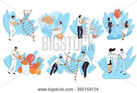 Set Of Vector Illustration Concept About Human Health, Genetic Research, Heart And Brain Medical Che