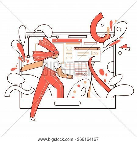Online Education Vector Flat Concept - Curious Girl Walking Inside A Tablet With Educational Informa