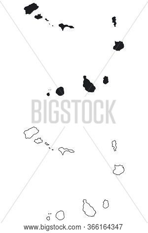 Cape Verde, Cabo Verde Country Map. Black Silhouette And Outline Isolated On White Background. Eps V