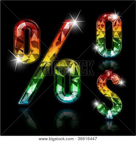 Spectrum diamond design elements - zero, percent sign and dollar sign