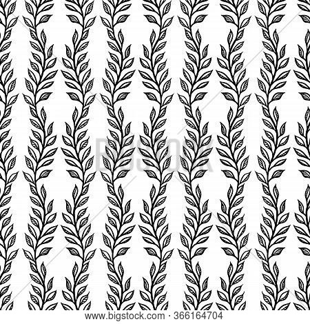 Black And White Floral Seamless Pattern Like As Ink Illustration.