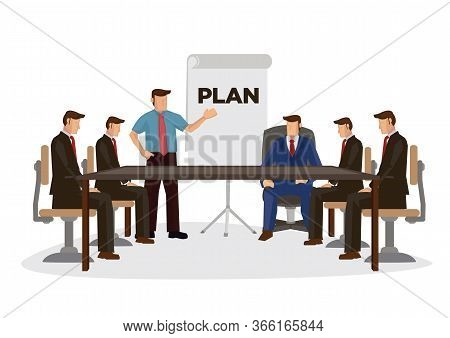 Business People Are Working In Office. Young Junior Worker Making Presentation To His Boss. Cartoon