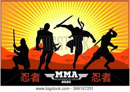 Silhouettes Of Ninja Warriors Against A Landscape - - English Translation - Ninja