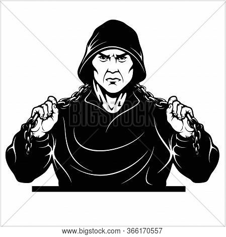 Street Fighter With A Chain. Thug - Ghetto Warrior. Vector Illustration Isolated On White