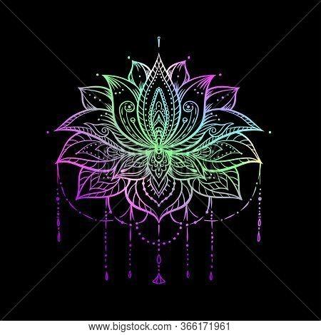 Ornate Lotus Flower. Ayurveda Symbol Of Harmony And Balance And Universe. Tattoo Design, Yoga Logo.