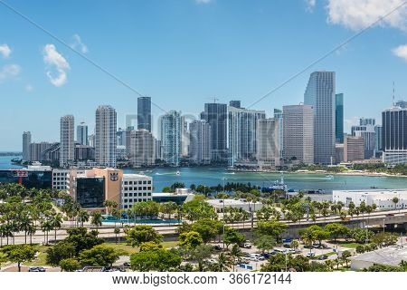 Miami, Fl, United States - April 27, 2019: Downtown Of Miami Skyline With Amazing Architecture Viewe