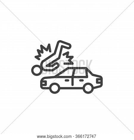 Pedestrian Accident Line Icon. Linear Style Sign For Mobile Concept And Web Design. Car Accident Out
