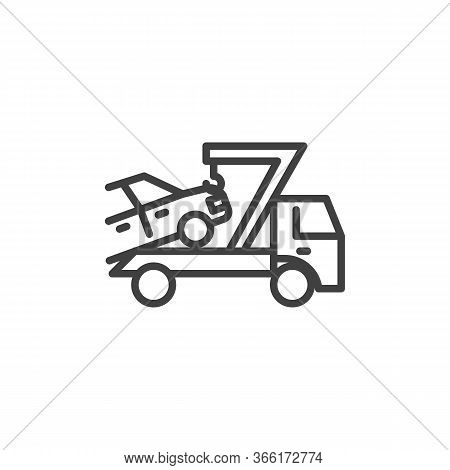 Car Towing Truck Line Icon. Linear Style Sign For Mobile Concept And Web Design. Auto Towing Outline