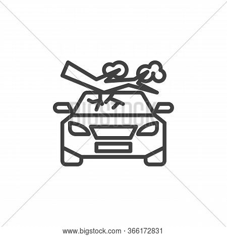Tree Fall Down On Car Line Icon. Linear Style Sign For Mobile Concept And Web Design. Car Crushed By
