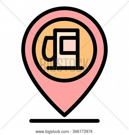 Gas Station Gps Pin Icon. Outline Gas Station Gps Pin Vector Icon For Web Design Isolated On White B