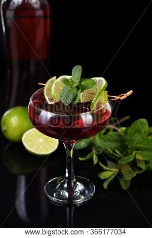 Martini Rosso Cocktails With Lime And Mint. Drink- Aperitif Based On Vermouth