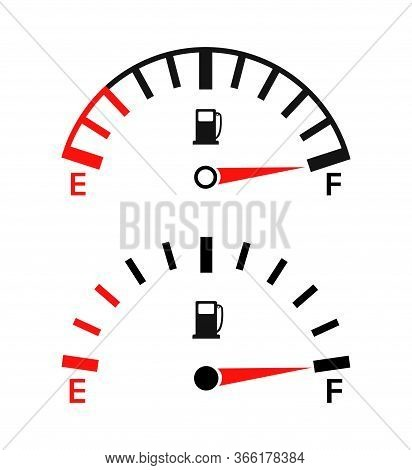 Gauge Of Fuel. Guage Of Gas, Gasoline. Full Or Empty Tank Of Petrol Or Diesel In Car. Indicators On