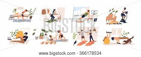People Doing Exercises With Dumbbell, Squat, Practice Yoga, Cycling. Men, Women, Families And Couple