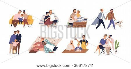 Set Of Diverse Homosexual Couple Vector Flat Illustration. Collection Of International Gay Family Wi
