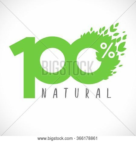 100 Green Numbers. 100% Natural Product Logotype. Creative Decorative Sign, Congratulation Concept W