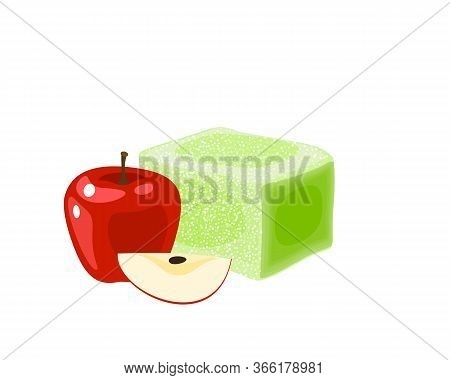 Turkish Delight, Lokum. Traditional Oriental Sweet Candy With Apple. Vector Illustration Cartoon Ico
