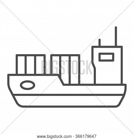 Tanker Thin Line Icon, Transport Symbol, Cargo Ship Vector Sign On White Background, Oil Tanker Ship