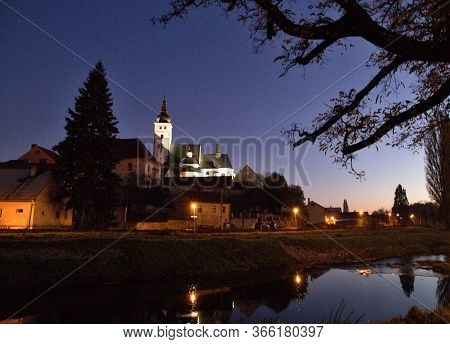 Night View Of The Church Of The Town Of Příbor, Birthplace Of Sigmund Freud, Czech Republic