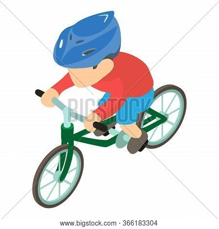 Bicyclist Icon. Isometric Illustration Of Bicyclist Vector Icon For Web
