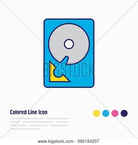 Vector Illustration Of Hdd Icon Colored Line. Beautiful Notebook Element Also Can Be Used As Hard Dr