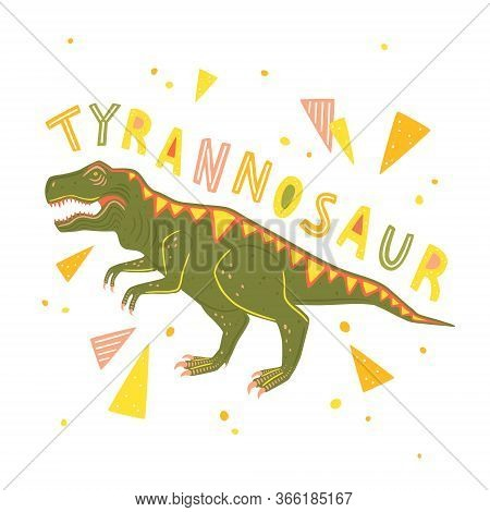 Vector Tyrannosaur Rex Isolated On White Background. Vector Illustration With Predatory Dinosaur And