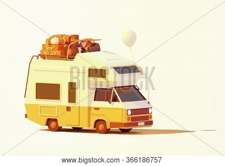 Vector Retro Camper Van Or Rv Illustration. Caravan Loaded With Luggage Ready For Road Trip Or Trave