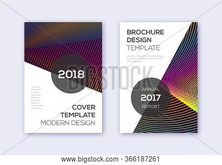 Modern Cover Design Template Set. Rainbow Abstract Lines On Wine Red Background. Fabulous Cover Desi