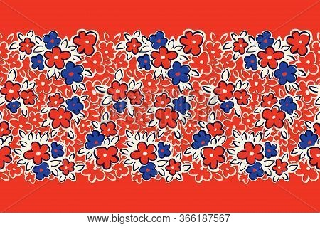 Hand Drawn Artistic Naive Daisy Flowers On Red Background Vector Seamless Pattern Border. Blue Bloom