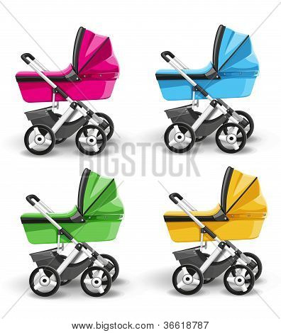 Colored strollers for baby boys and baby girls