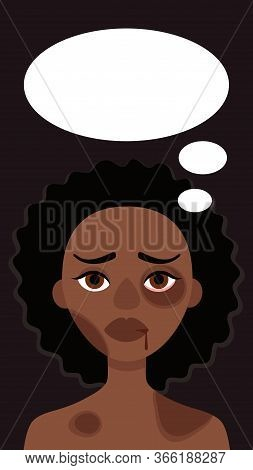 Sad African Woman With Bruises And Speech Bubble On Dark Background.concept Of Domestic Violence, Se