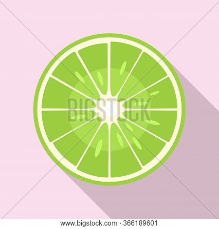 Raw Half Lime Icon. Flat Illustration Of Raw Half Lime Vector Icon For Web Design
