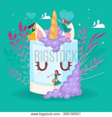 Big Cake And Little Girls Decorating Giant Cream Cake Cartoon Vector Illustration Of Sweet Food, Cel