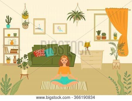 Young Woman In Yoga Pose At Home Meditating Cartoon Vector Illustration, Girl Performing Aerobics Ex