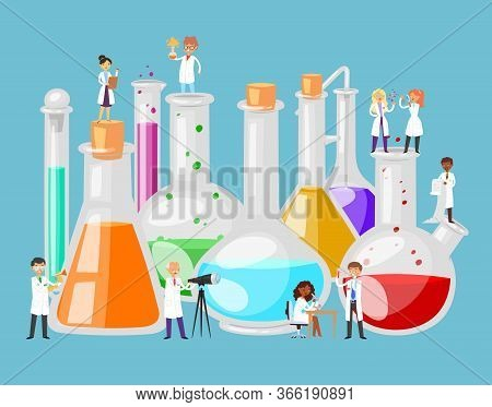 Chemical Laboratory Experiment In Science, Test Tube, Beaker, Flask And Scientists Tiny People Condu