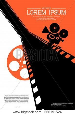 Film Strip On The Way With Silhouette Of Cinema Projector On A Tripod And Film Roll. Cinema Backgrou
