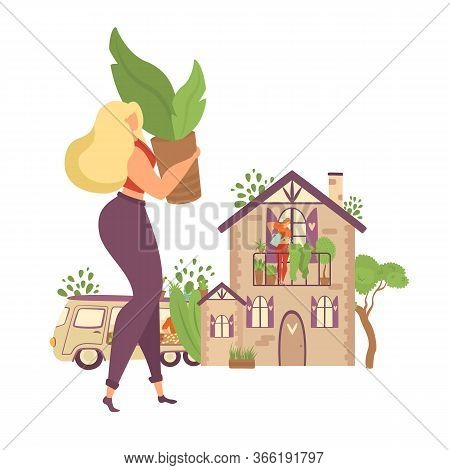 Stay Home And Plant Greenery At Home Motivational Isolated On White Vector Illustration. Woman Bring